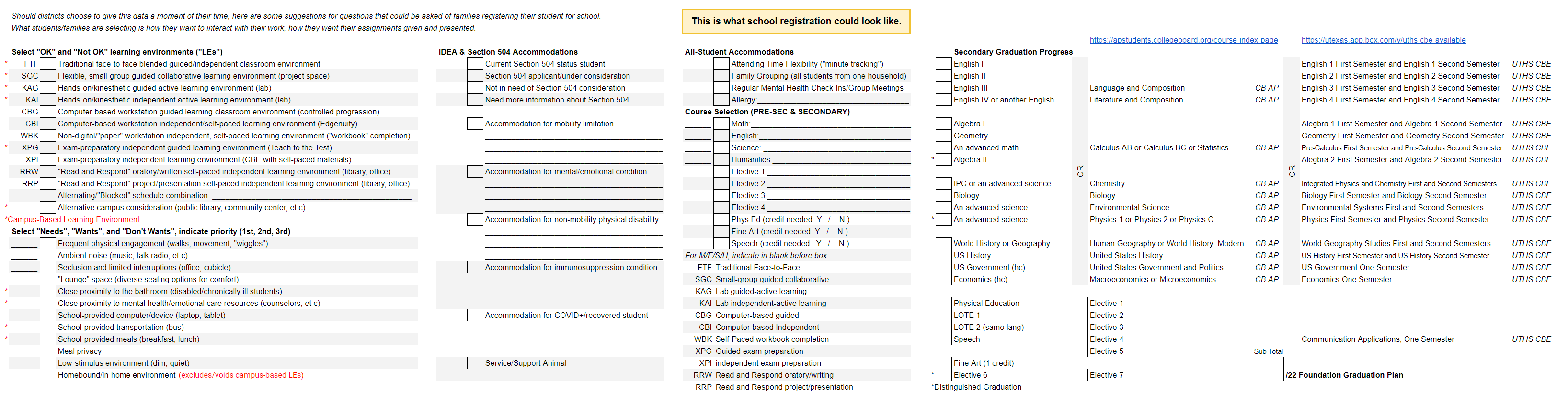 Registration Recommendation Form